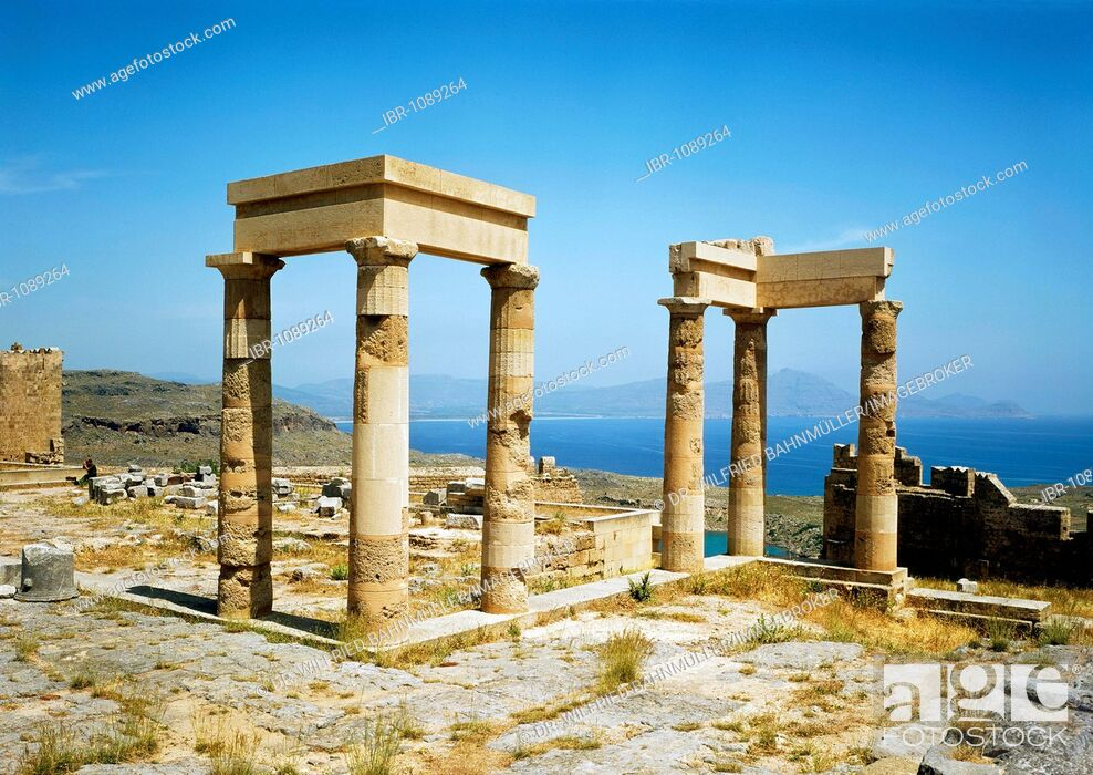 Stock Photo: Temple of Anthena Lindia, Acropolis, Lindos, Rhodes, Dodecanese, Greece, Europe.