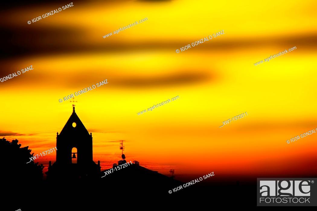 Stock Photo: Church of Foncebadón at sunrise, Way of St James, Leon province, Castilla-Leon, Spain.