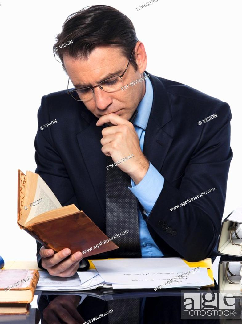 Stock Photo: man caucasian teacher professor reading concentrated isolated studio on white background.