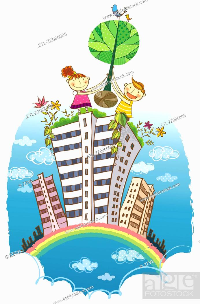 Stock Photo: Two children carrying tree over the building.
