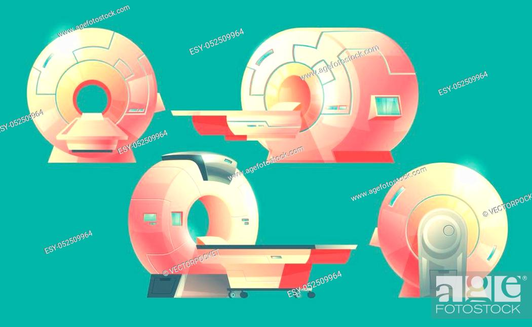 Stock Vector: Vector cartoon MRI scanner for tomography, medical examination. Different views of machine for magnetic resonance imaging for x-ray diagnosis.