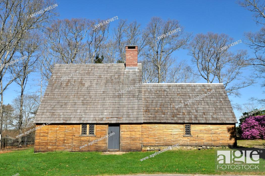 Stock Photo: Historic Aptucxet trading post built by the Pilgrims for trading with the Wampanoag indians and the Dutch  It was the first private commercial enterprise in.