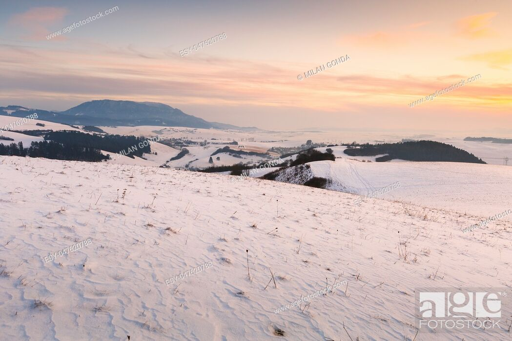 Stock Photo: Turiec region and view of Velka Fatra mountain range in winter. .