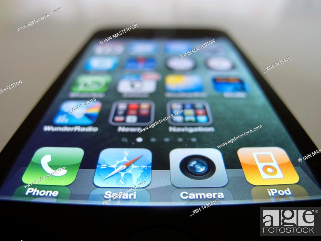 Stock Photo: Close-up of iPhone 4G smart phone.
