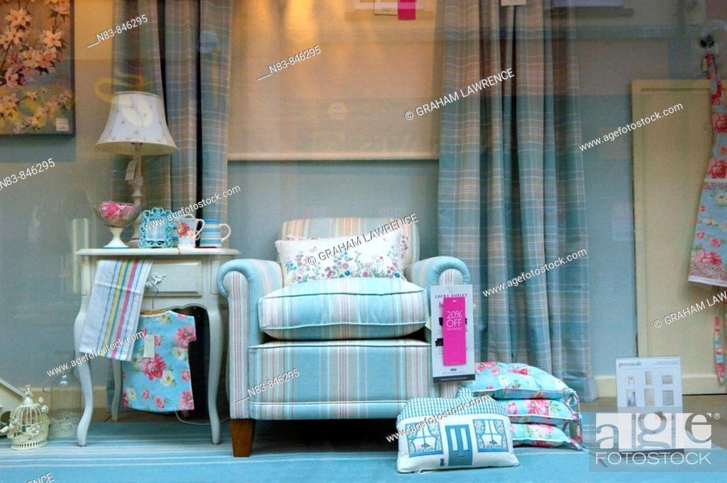 Stock Photo: Window display, Laura Ashley shop Hereford Herefordshire United Kingdom.