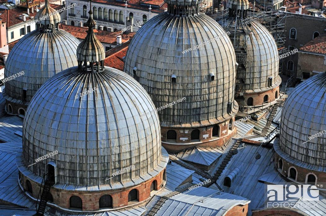 Stock Photo: The domes of the Basilica San Marco.