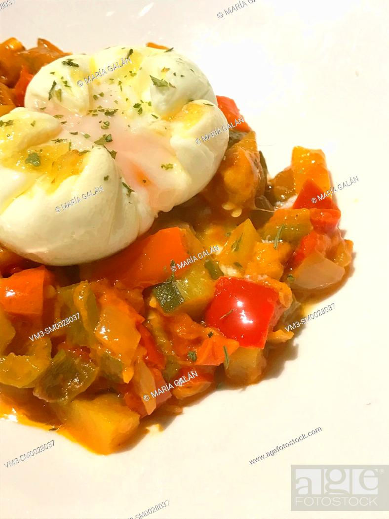 Stock Photo: Pisto with poached egg. Spain.
