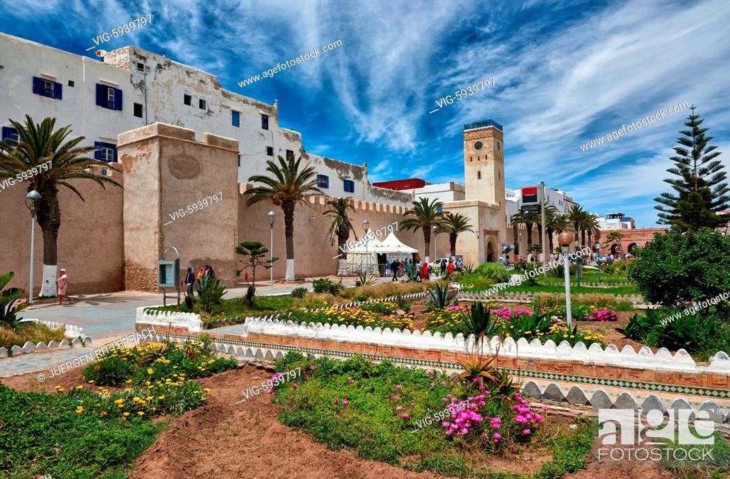 Stock Photo: MOROCCO, ESSAOUIRA, 27.05.2016, Avenue Oqba Ibn Nafiaa in medina of Essaouira, UNESCO world heritage site, Morocco, Africa - Essaouira, Morocco, 27/05/2016.