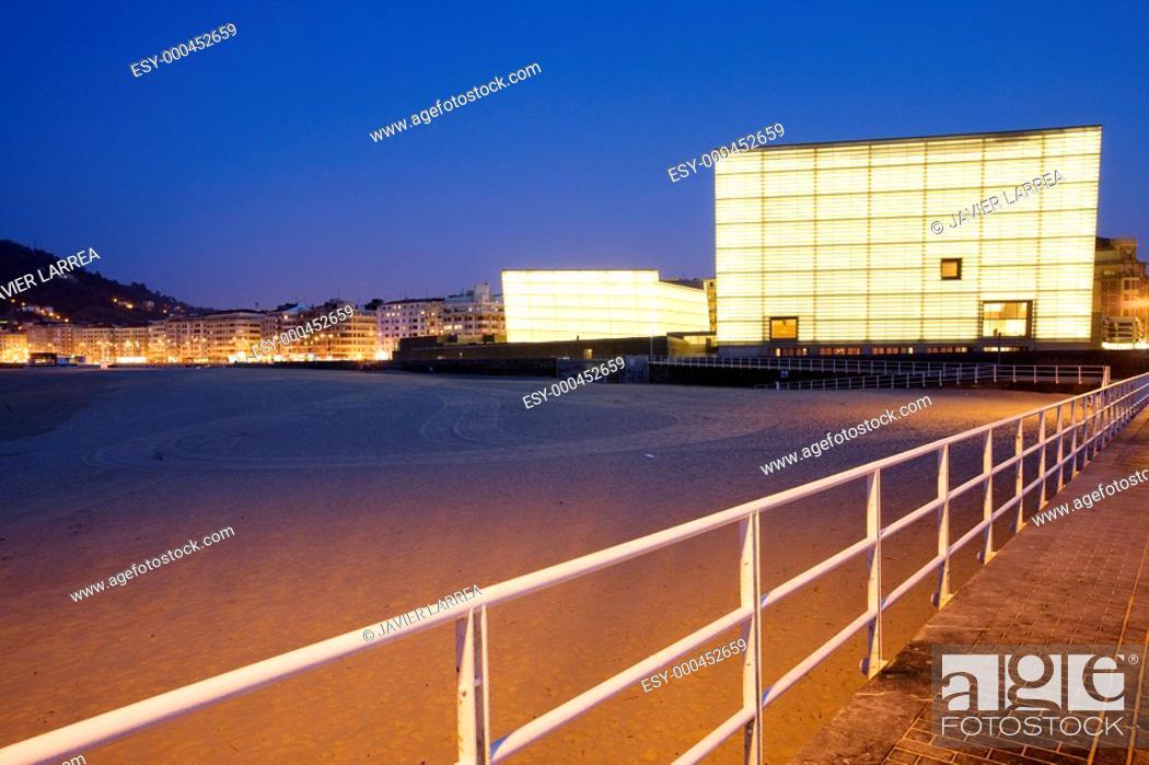 Stock Photo: Zurriola beach. Kursaal Center, by Rafael Moneo. San Sebastián. Guipuzcoa. Spain.