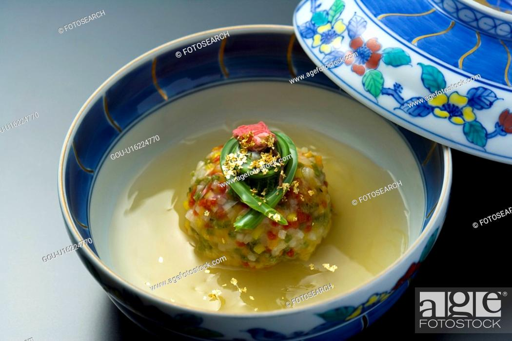 Stock Photo: Japanese steamed food in a bowl, high angle view, close up, black background, Japan.
