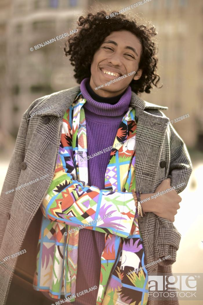 Stock Photo: young fashion model man, in Paris, France.