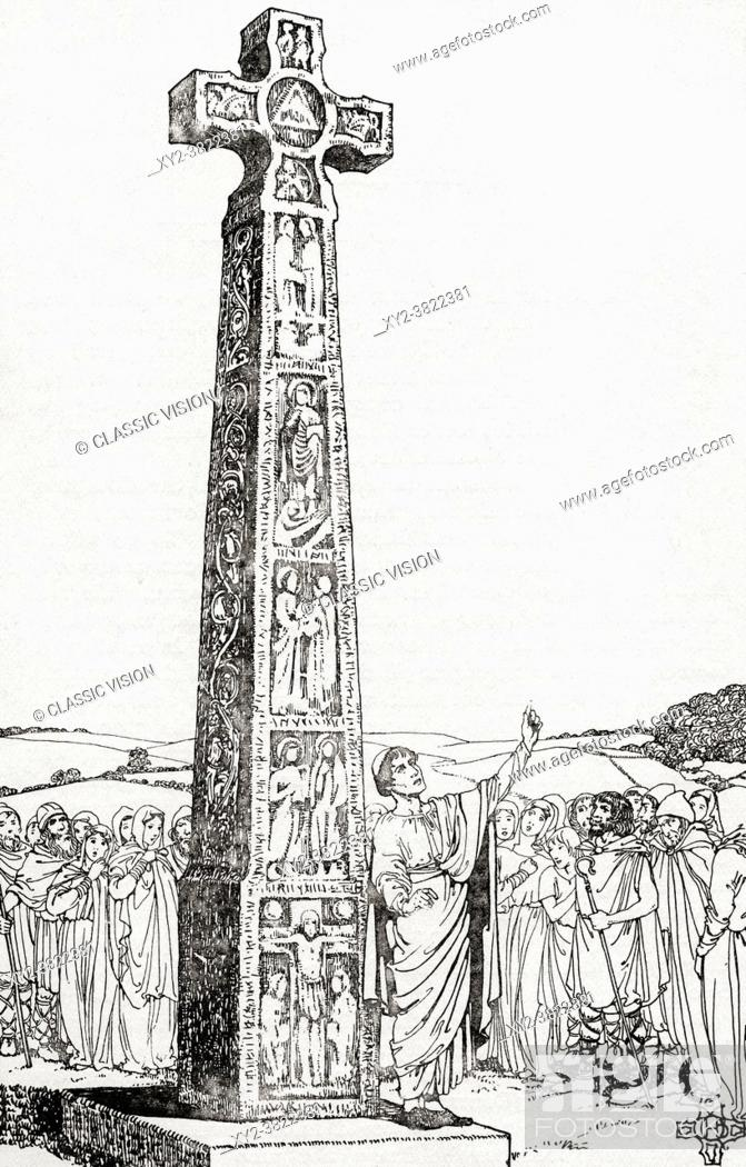 Stock Photo: The Ruthwell Cross - partial reconstruction. The cross is now inside Ruthwell church, Dumfrieshire, Scotland. From Everday Life in Anglo-Saxom.