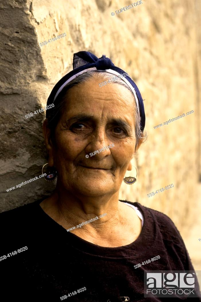 Stock Photo: Azerbaijan, Near Baku, Atashgah Temple Zoroastrian Temple, Portrait Of Woman.