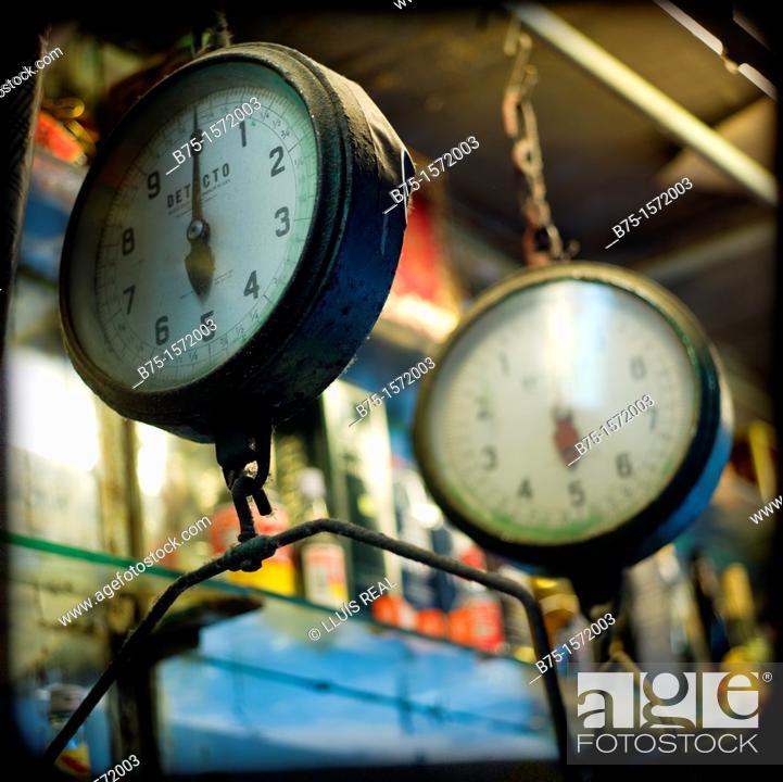 Stock Photo: Market scales, Hong Kong, China.