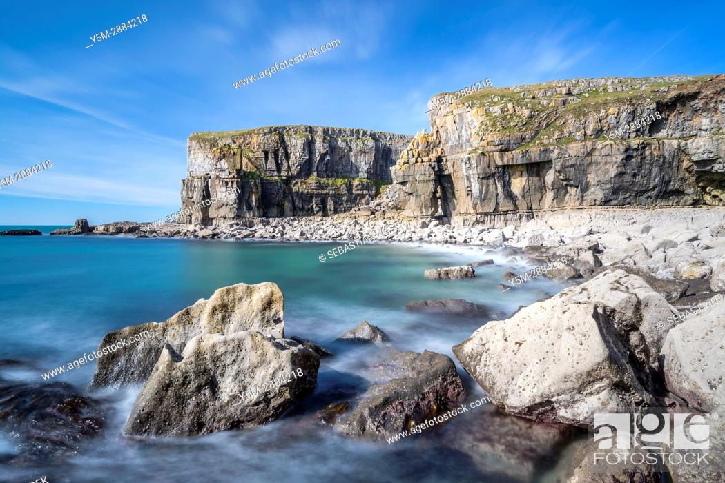 Stock Photo: St Govan's Head, Pembrokeshire Coast National Park, Bosherston, Wales, UK.