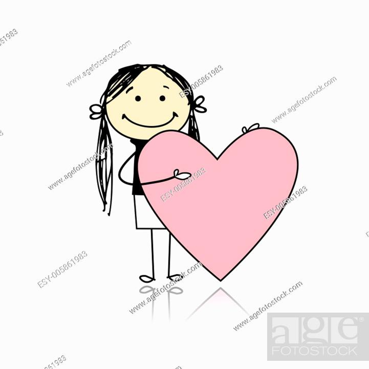 Stock Vector: Cute girl with valentine heart, place for your text.