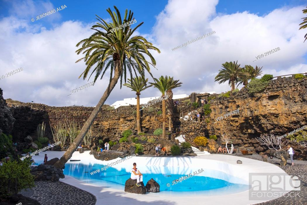 Imagen: Garden and pool. Jameos del Agua. Art, Culture and Tourism Centre created by César Manrique. Haria. Lanzarote Island. Canary Islands Spain. Europe.