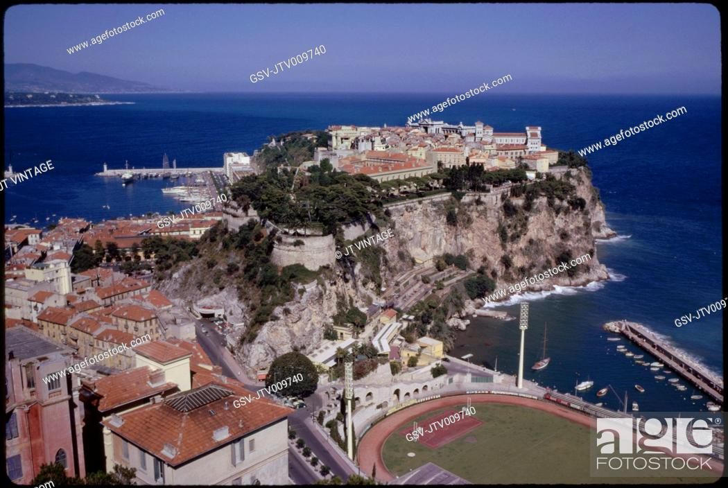 Stock Photo: Prince's Palace and Mediterranean Sea, Monaco-Ville, Monaco, 1961.
