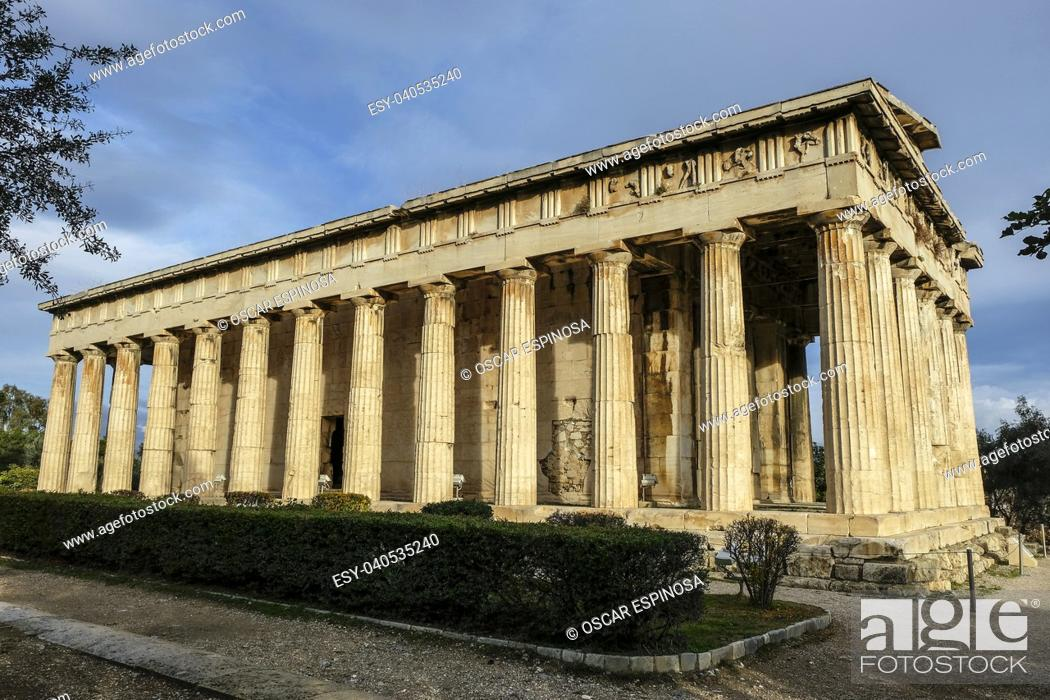 Stock Photo: Temple of Herphaesus in the Ancient Agora in Athens, Greece.