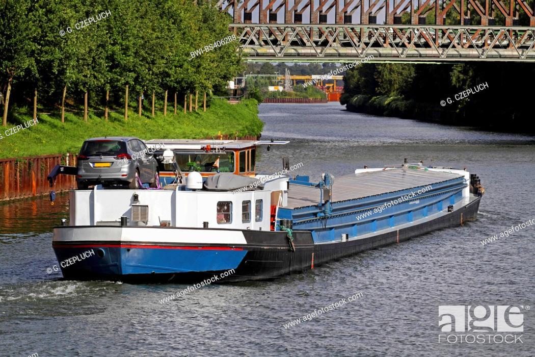 Stock Photo: transport ship on Rhine-Herne Canal, Germany, North Rhine-Westphalia, Ruhr Area, Essen.