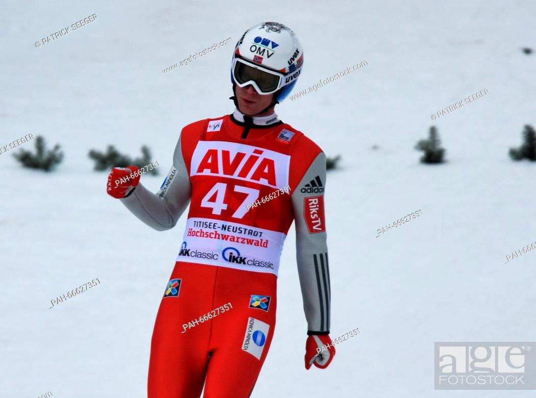 08a7b218f0e81c Stock Photo - Third-placed Kenneth Gangnes of Norway celebrates after his  jump during the second round of the individual large hill competition at  the FIS ...