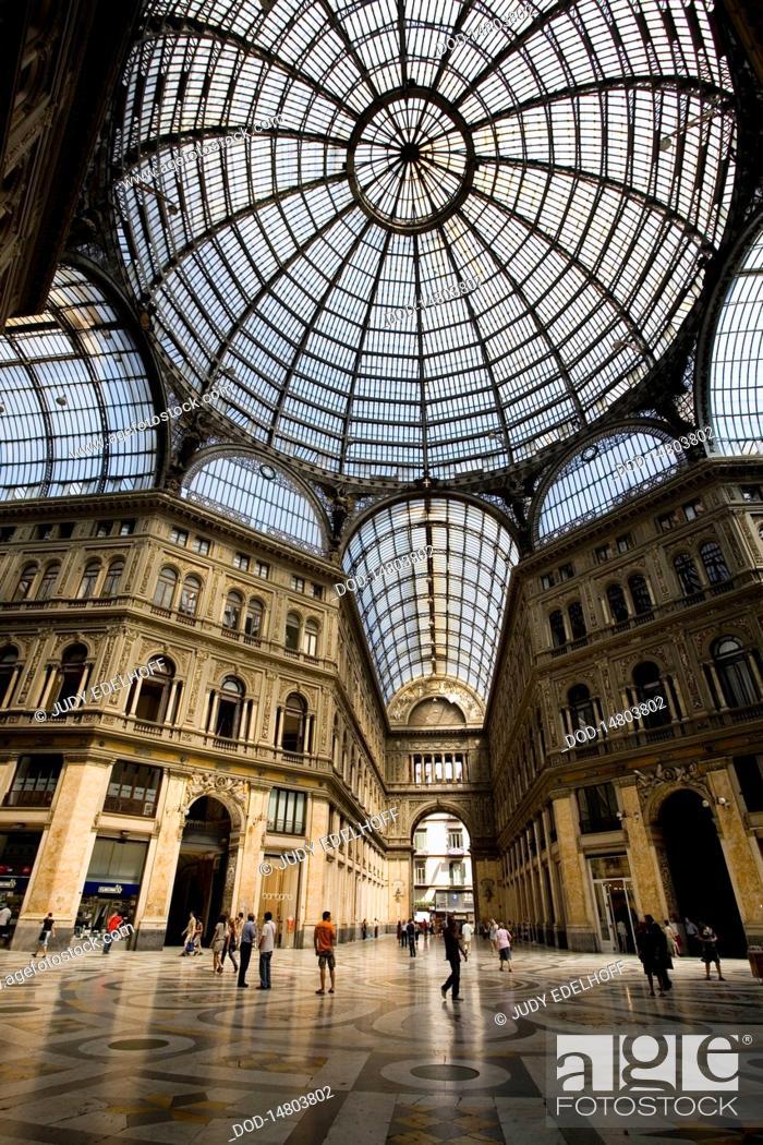 Stock Photo: Italy, Naples, Galleria Umberto, dome.