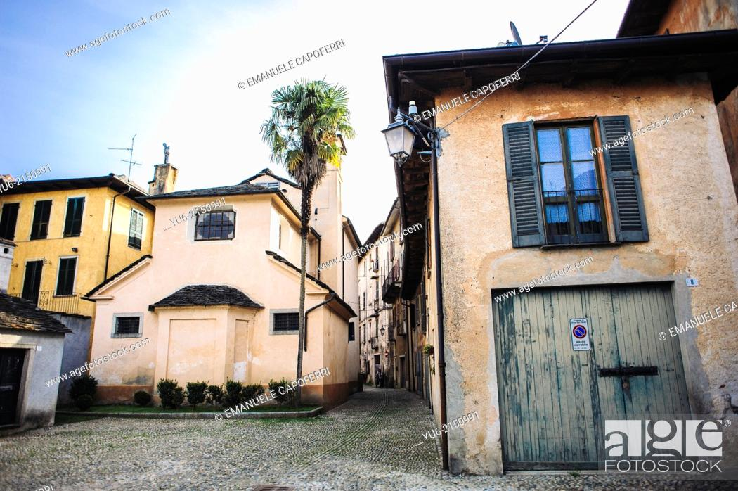 Stock Photo: Square in the back of the church of San Rocco, village of Orta, Lake Orta, Piedmont, Italy.