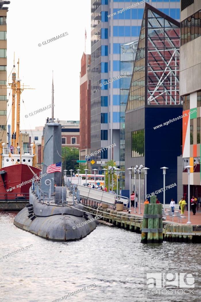 Stock Photo: Submarine at a harbor, National Aquarium, Inner Harbor, Baltimore, Maryland, USA.