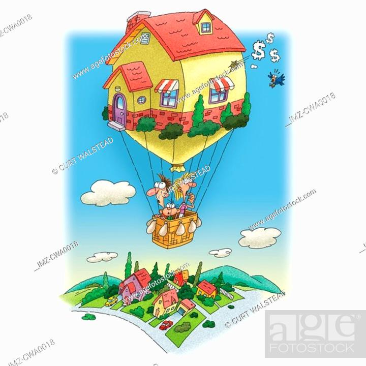Stock Photo: A family living in a hot air balloon house.