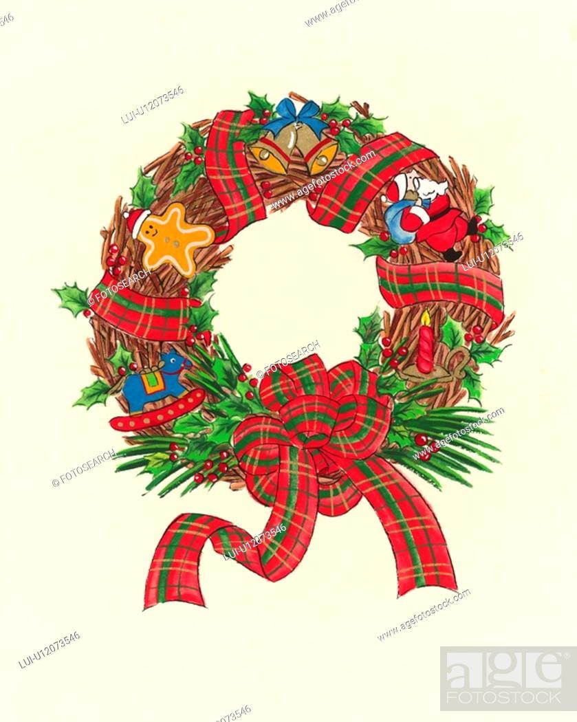 Stock Photo: Christmas Wreath.