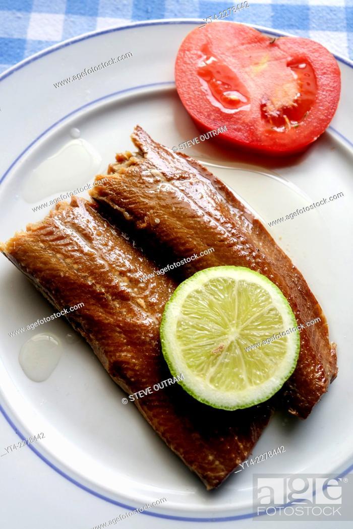 Stock Photo: Greek Cuisine, Smoked Makerel Fillets in Olive Oil.