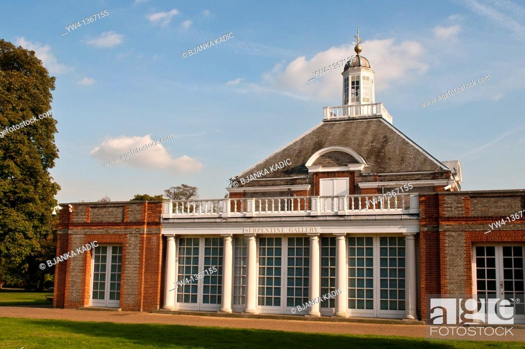 Stock Photo: Serpentine Gallery, Kensington Gardens, London UK.