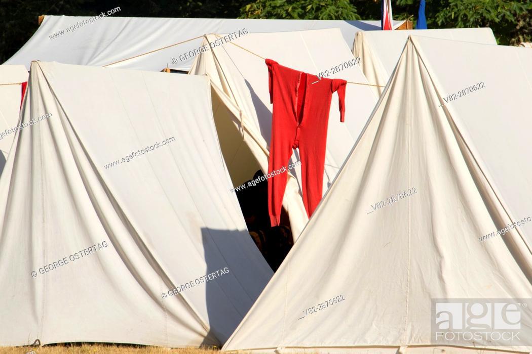 Stock Photo: Long johns on tent, Civil War Re-enactment, Willamette Mission State Park, Oregon.