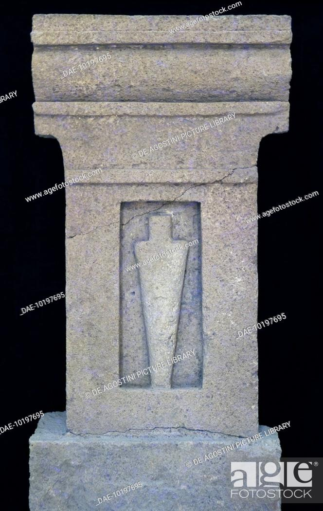 Stock Photo: Stele with bottle-shaped idol from the Tophet of Mozia, Marsala, Sicily, Italy. Punic civilisation, 6th-5th century BC.  Marsala-Mozia.