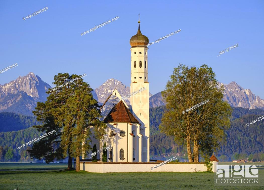 Stock Photo: Church St. Coloman, near Schwangau, East Allgäu, Allgäu, Swabia, Bavaria, Germany, Europe.
