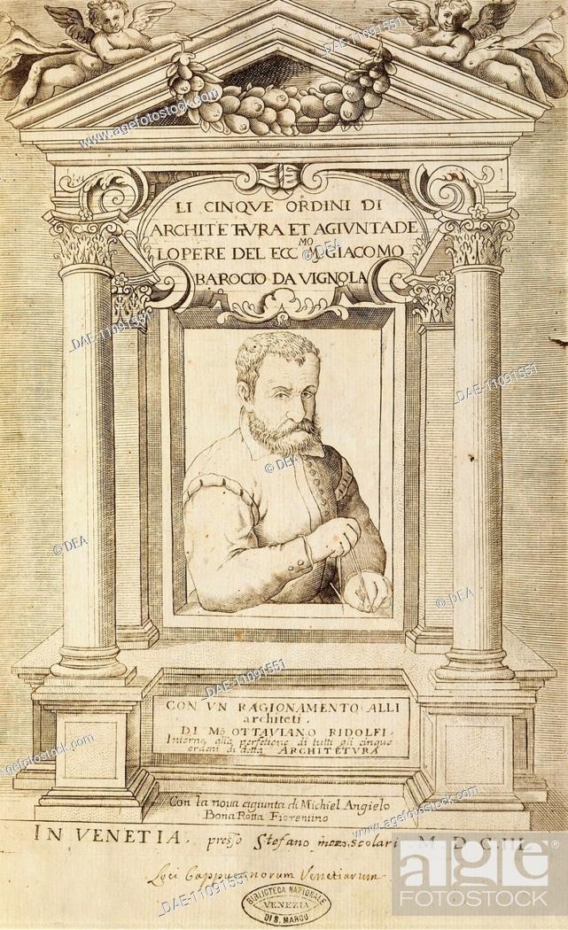 Stock Photo: Rule of the Five Orders of Architecture, a treatise by Jacopo Barozzi da Vignola (1507-1573), title page, Venetian edition, 1648.