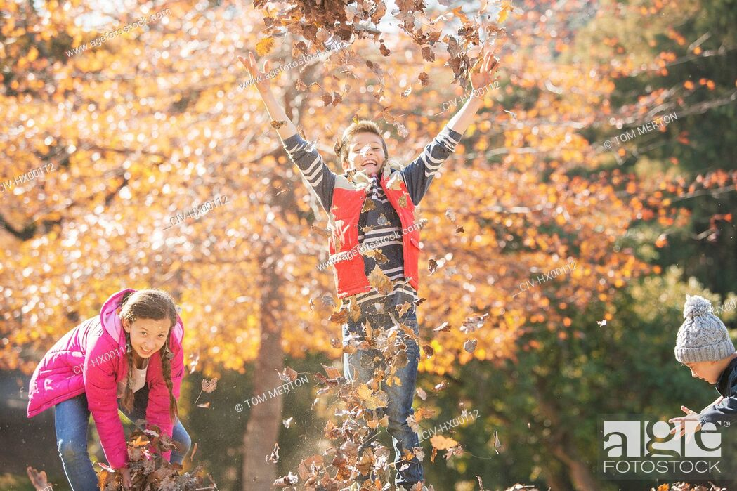 Stock Photo: Playful boys and girl running and jumping in autumn leaves.