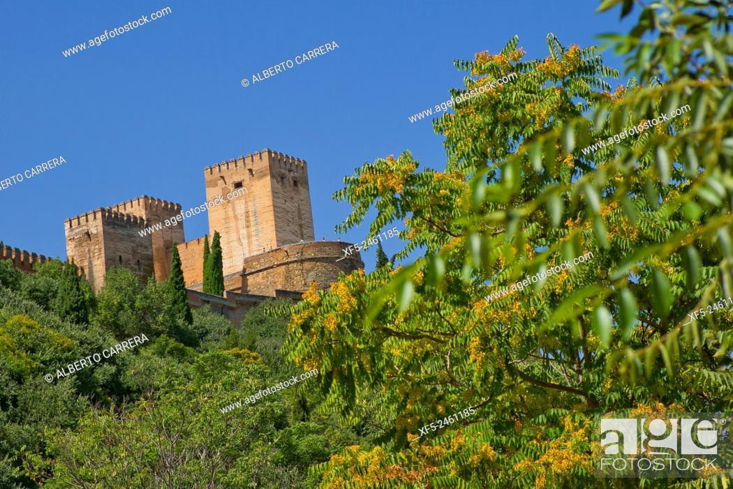 Imagen: View of La Alhambra from Albaicín Neighborhood, Albaycín, Albayzín, UNESCO World Heritage Site, Granada, Andalucía, Spain, Europe.