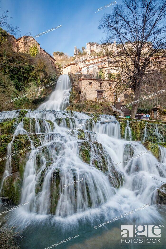 Stock Photo: Orbaneja del Castillo village, Paramos region, Burgos, Spain.