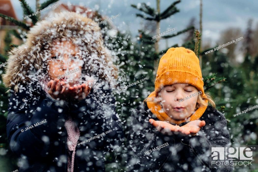 Stock Photo: Brother and sister having fun with snow before Christmas.