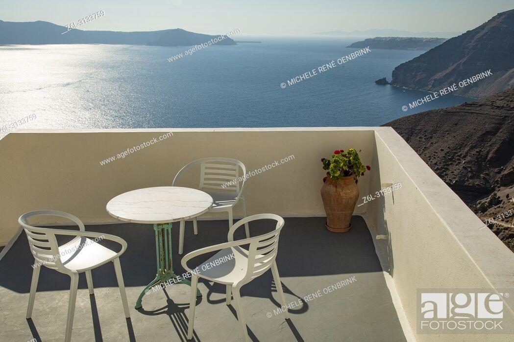 Stock Photo: Graphic architecture and graphics of scenic Fira, Thera, Santorini Greece.