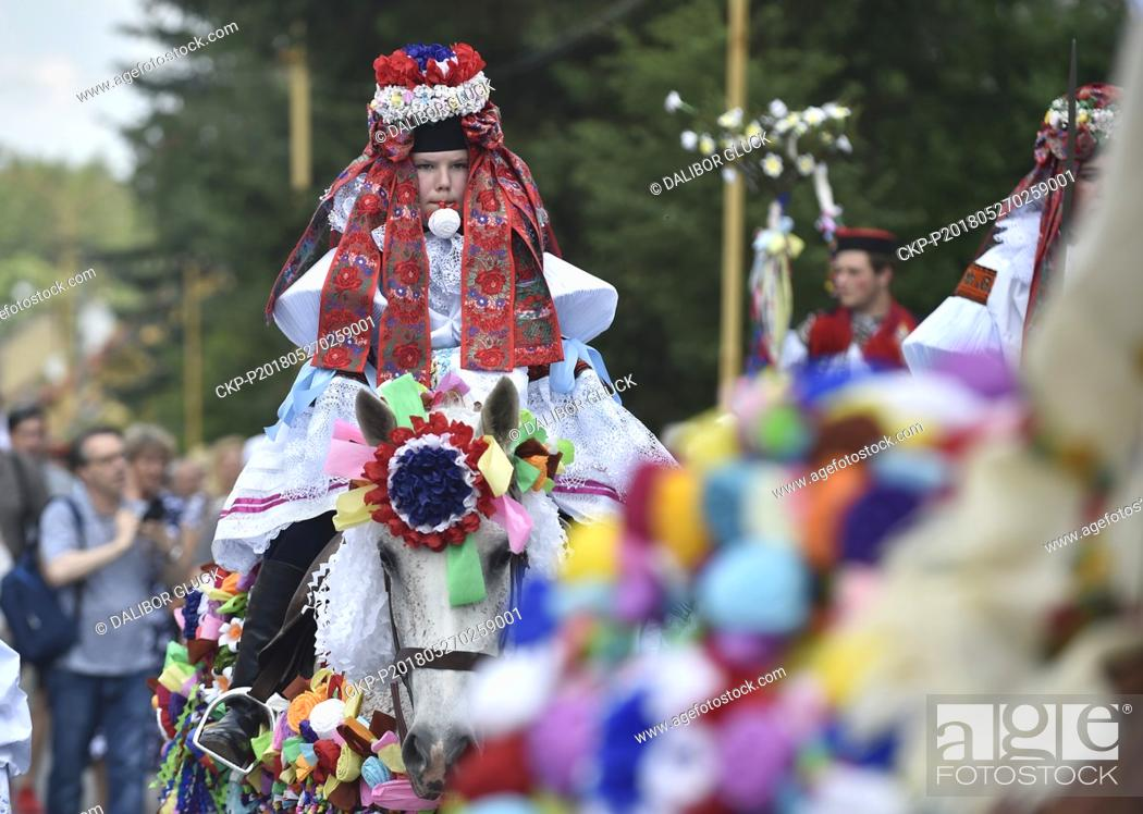Stock Photo: Traditional Ride of the Kings is performed on May 27, 2018, in Vlcnov (300 km east of Prague). Every year, on the last Sunday in May.
