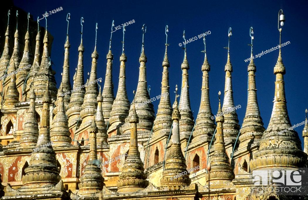 Stock Photo: Sagaing is the chief city and capital of Sagaing Division in Myanmar. It is located on the Ayeyarwady River, 20 km to the southwest of Mandalay on the opposite.