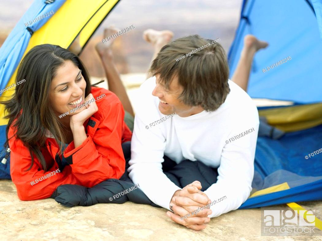 Stock Photo: Couple lying in tent.