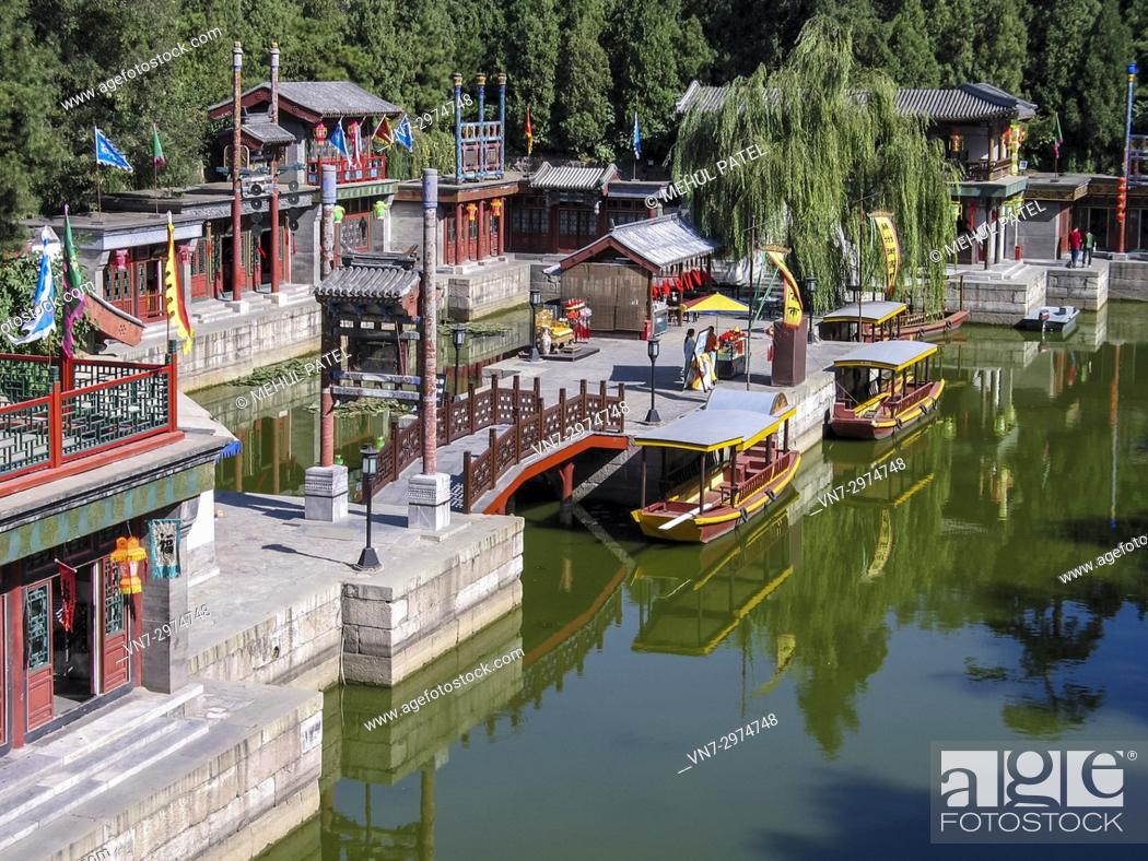 Imagen: Suzhou Market Street, Summer Palace, Beijing, China, Asia. Suzhou Market Street is located inside Summer Palace in Beijing and can be entered via the North.