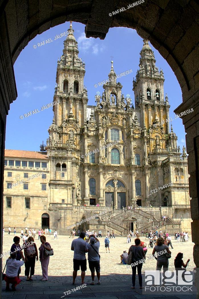 Stock Photo: Santiago de Compostela Spain  Obradoiro facade and square in the city of Santiago de Compostela.