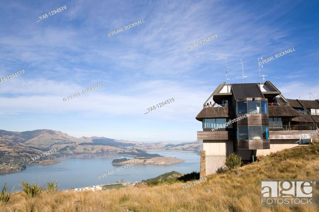 Stock Photo: Christchurch Canterbury South Island New Zealand  Mount Cavendish Gondola cable car top summit terminal station building in Port Hills with view to Lyttelton.
