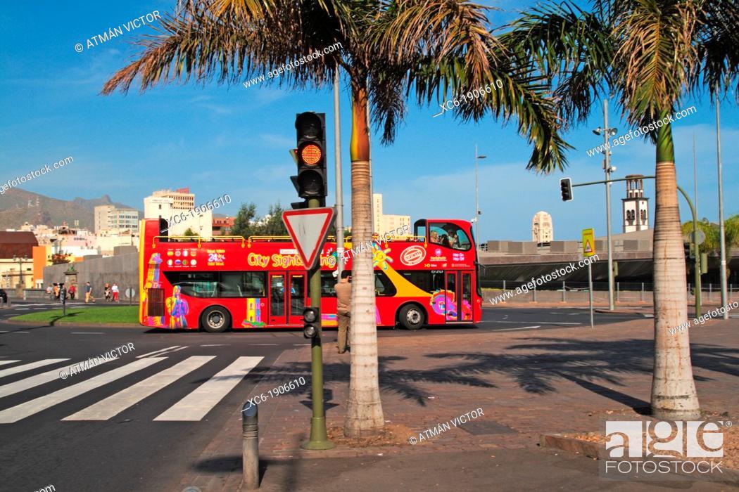 Stock Photo: city tour bus in Santa Cruz de Tenerife Spain.