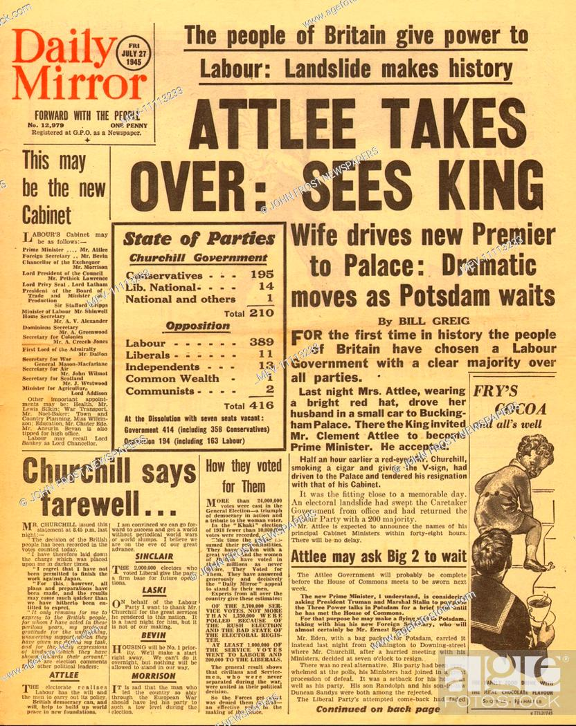 20 Daily Mirror front page reporting Clement Atlee wins British ...
