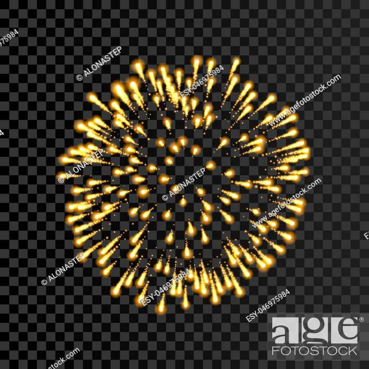 Stock Vector: Firework gold bursting isolated transparent background. Beautiful night fire, explosion decoration, holiday, Christmas, New Year.